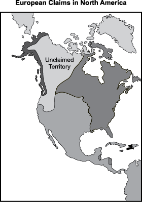 map of north america with five different regions marked is led euan claims in north america first region is the eastern coast of the modern day u s